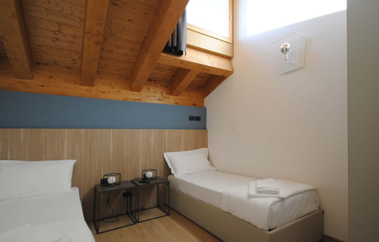 Camera da letto appartamento B&B con due letti singoli