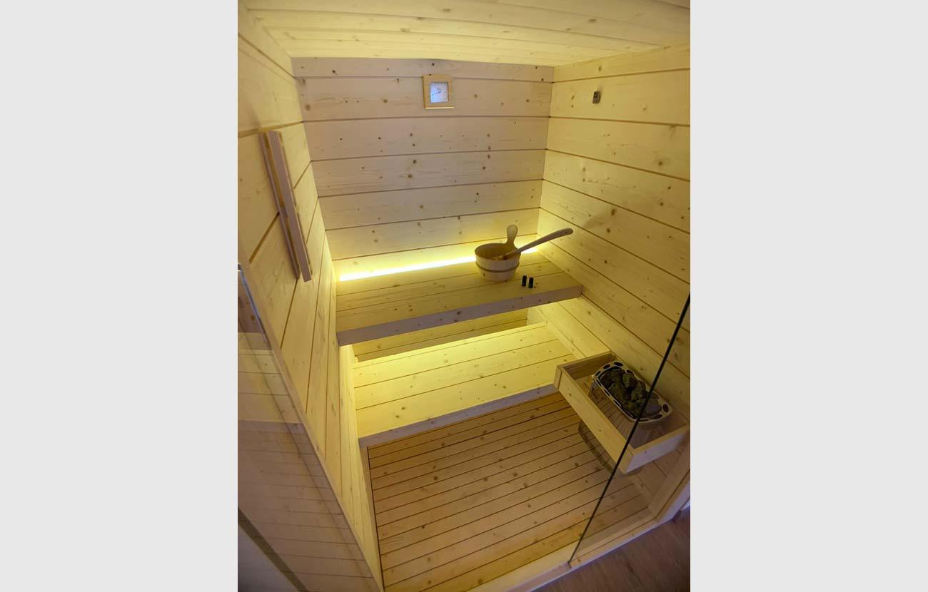 Sauna appartamento B&B vista dall'interno